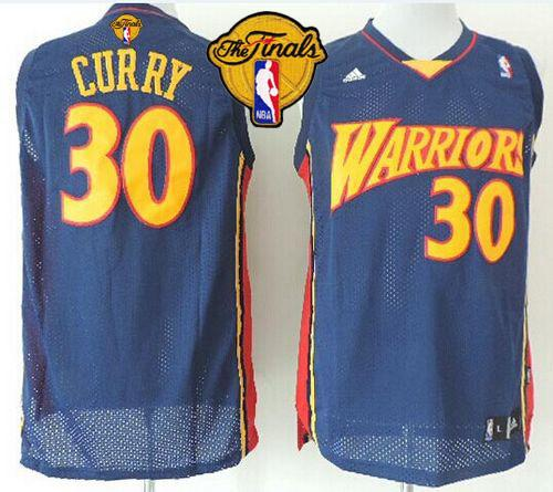 Warriors #30 Stephen Curry Navy Blue Throwback The Finals Patch Stitched NBA Jersey