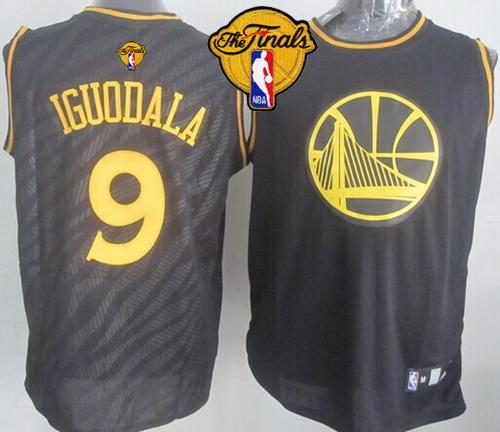 Warriors #9 Andre Iguodala Black Precious Metals Fashion The Finals Patch Stitched NBA Jersey