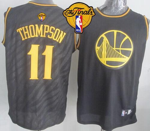 Warriors #11 Klay Thompson Black Precious Metals Fashion The Finals Patch Stitched NBA Jersey