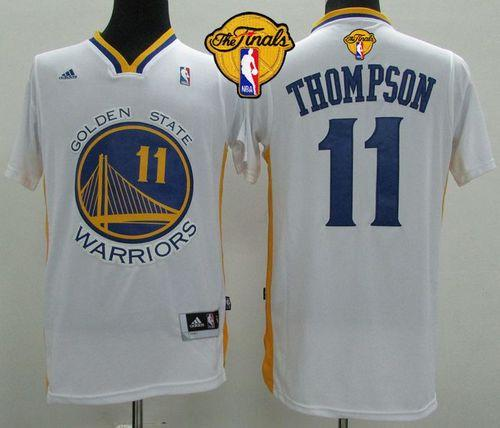 Revolution 30 Warriors #11 Klay Thompson White Alternate The Finals Patch Stitched NBA Jersey