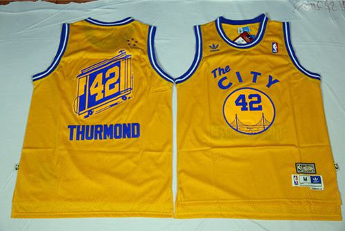 Warriors #42 Nate Thurmond Gold Throwback The City Stitched NBA Jersey