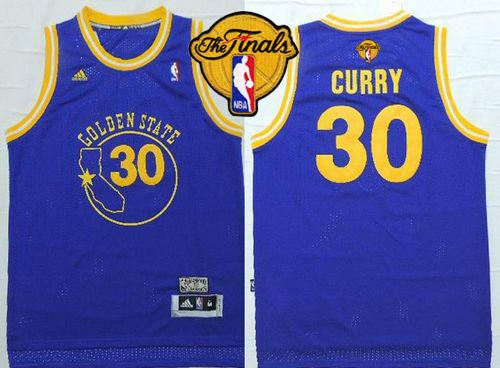 Warriors #30 Stephen Curry Blue New Throwback The Finals Patch Stitched NBA Jersey