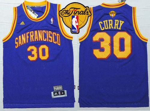 Warriors #30 Stephen Curry Blue Throwback San Francisco The Finals Patch Stitched NBA Jersey