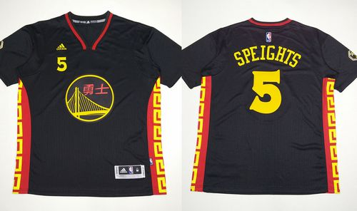 Warriors #5 Marreese Speights Black Slate Chinese New Year Stitched NBA Jersey