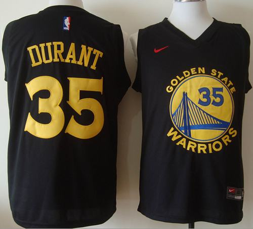 Warriors #35 Kevin Durant Black Fashion Stitched NBA Jersey