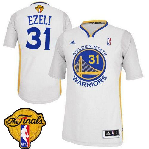 Revolution 30 Warriors #31 Festus Ezeli White Alternate The Finals Patch Stitched NBA Jersey