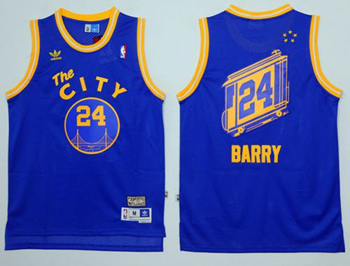 Warriors #24 Rick Barry Blue Throwback The City Stitched NBA Jersey
