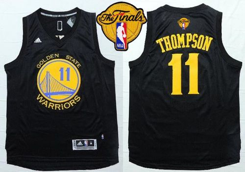 Warriors #11 Klay Thompson Black Fashion The Finals Patch Stitched NBA Jersey