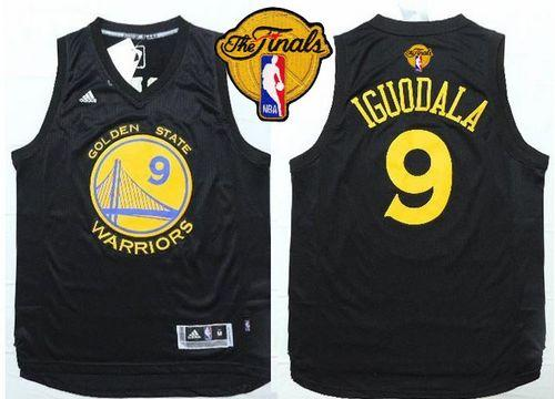 Warriors #9 Andre Iguodala Black Fashion The Finals Patch Stitched NBA Jersey