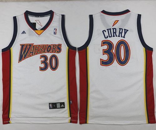 Warriors #30 Stephen Curry White Throwback Stitched NBA Jersey