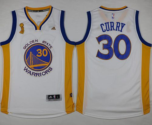 Warriors #30 Stephen Curry White Trophy Banner Champions Stitched NBA Jersey