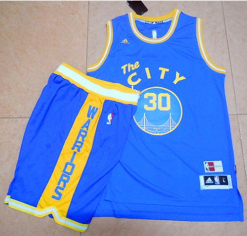Warriors #30 Stephen Curry Blue Throwback The City A Set Stitched NBA Jersey