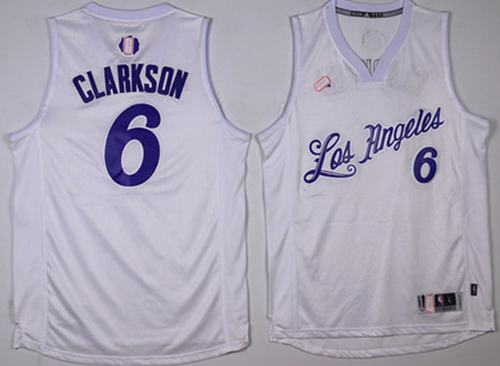 Lakers #6 Jordan Clarkson White 2016-2017 Christmas Day Stitched NBA Jersey
