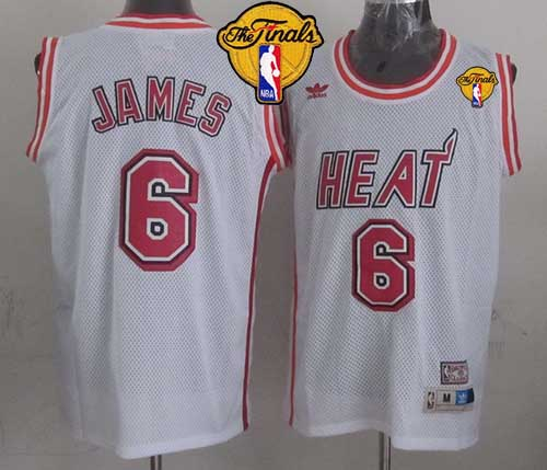 Heat #6 LeBron James White Swingman Throwback Finals Patch Stitched NBA Jersey
