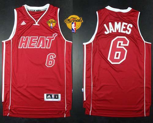 Heat #6 LeBron James Red Pride Swingman Finals Patch Stitched NBA Jersey