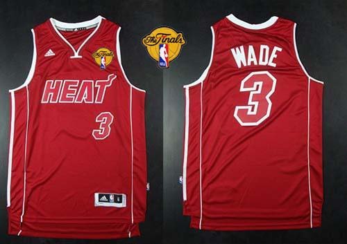 Heat #3 Dwyane Wade Red Pride Swingman Finals Patch Stitched NBA Jersey