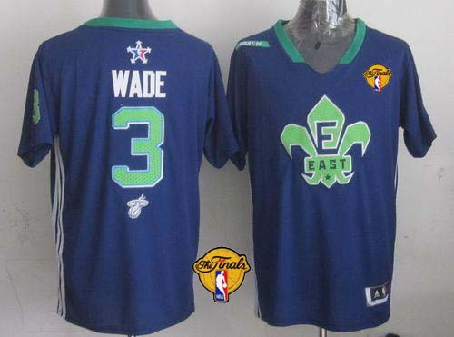 Heat #3 Dwyane Wade Navy Blue 2014 All Star Finals Patch Stitched NBA Jersey