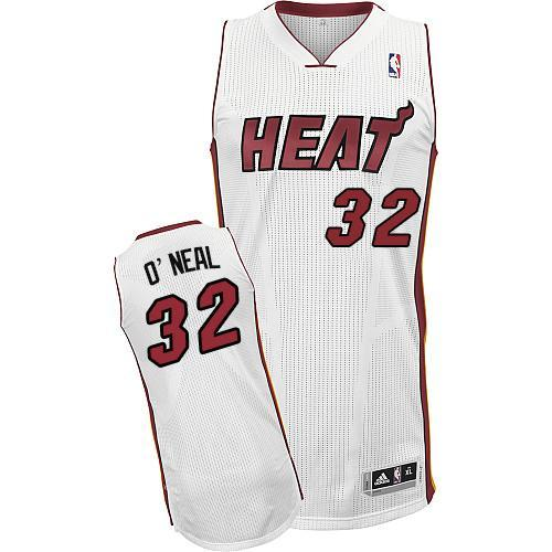 Heat #32 Shaquille O'Neal White Throwback Stitched NBA Jersey