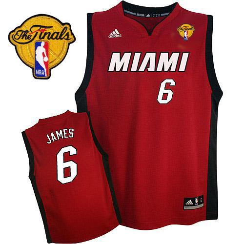 Heat Finals Patch #6 LeBron James Red Stitched NBA Jersey