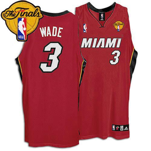 Heat Finals Patch #3 Dwyane Wade Red Stitched NBA Jersey