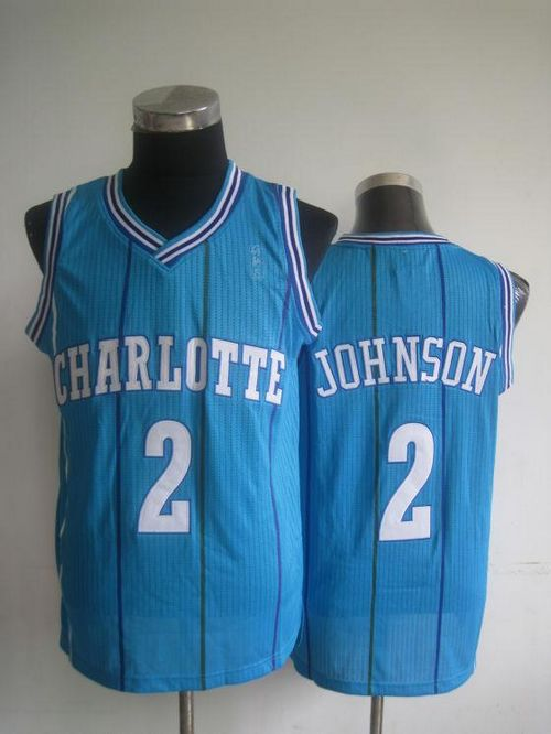 Pelicans #2 Larry Johnson Light Blue Charlotte Hornets Throwback Stitched NBA Jersey