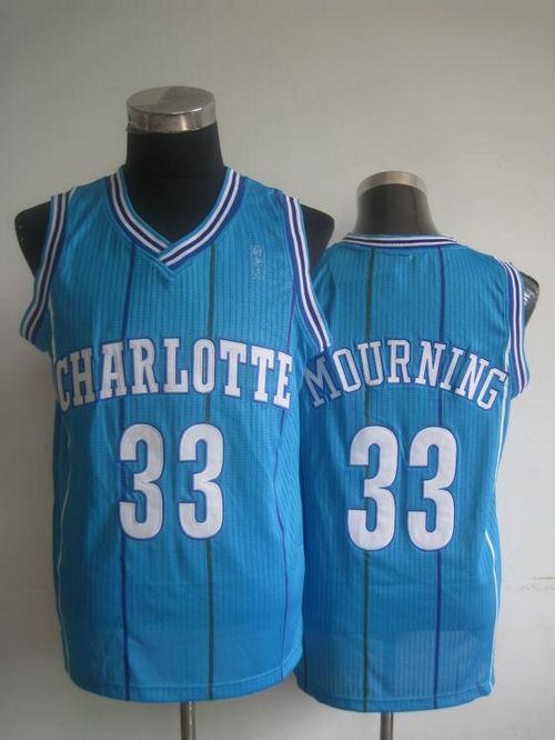 Pelicans #33 Alonzo Mourning Light Blue Charlotte Hornets Throwback Stitched NBA Jersey