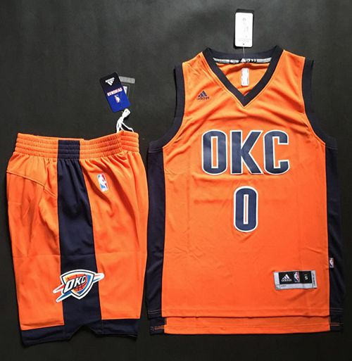 Thunder #0 Russell Westbrook Orange Alternate A Set Stitched NBA Jersey
