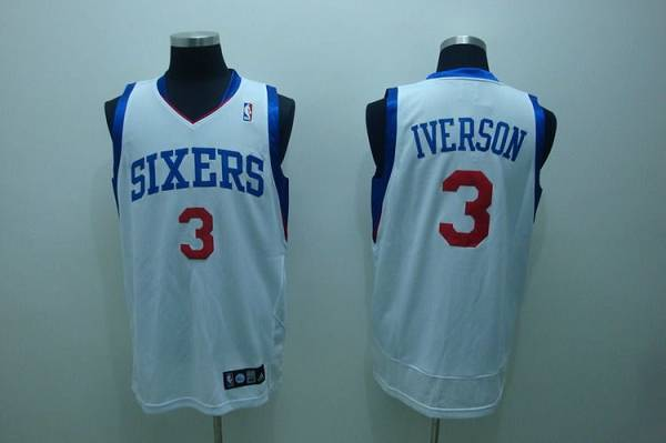 76ers #3 Allen Iverson Stitched White NBA Jersey