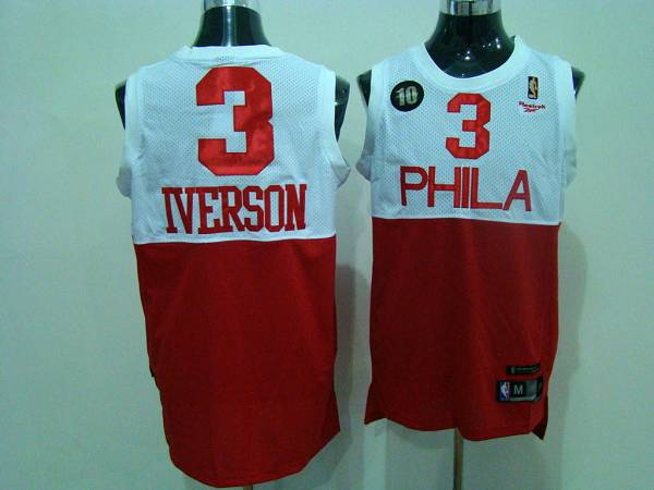 76ers #3 Allen Iverson White/Red Reebok 10TH Throwback Stitched NBA Jersey