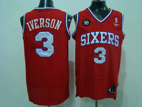 76ers #3 Allen Iverson Red Reebok 10TH Throwback Stitched NBA Jersey