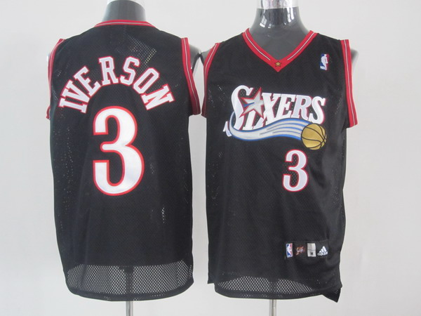 76ers #3 Allen Iverson Black Stitched NBA Jersey