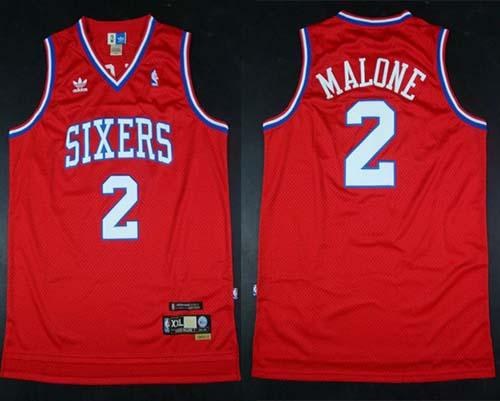 Throwback 76ers #2 Malone Red Stitched NBA Jersey