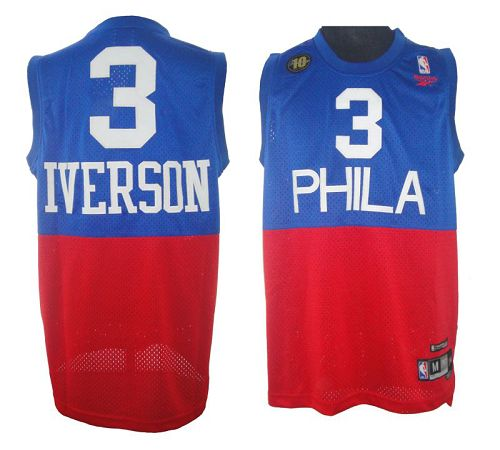 76ers #3 Allen Iverson Red/Blue Reebok 10TH Throwback Stitched NBA Jersey