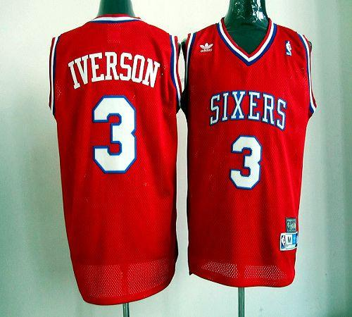 76ers #3 Allen Iverson Red Throwback Stitched NBA Jersey