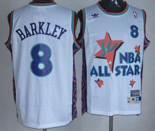 Suns #8 Charles Barkley White 1995 All Star Throwback Stitched NBA Jersey