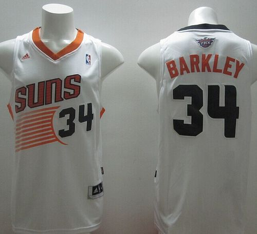 Revolution 30 Suns #34 Charles Barkley White Stitched NBA Jersey