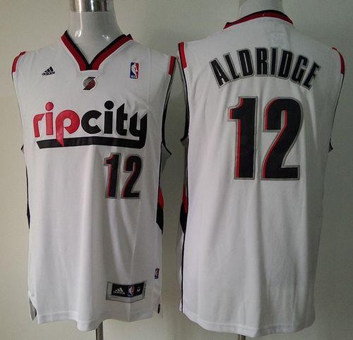 Blazers #12 Lamarcus Aldridge White Throwback Stitched NBA Jersey