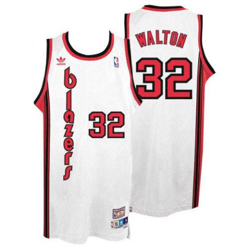 Blazers #32 Bill Walton White Throwback Stitched NBA Jersey