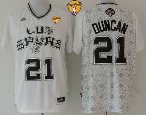 Spurs #21 Tim Duncan White New Latin Nights Finals Patch Stitched NBA Jersey