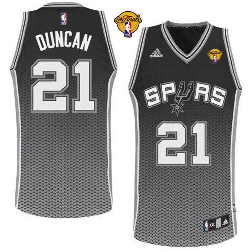 Spurs #21 Tim Duncan Black Resonate Fashion Swingman Finals Patch Stitched NBA Jersey