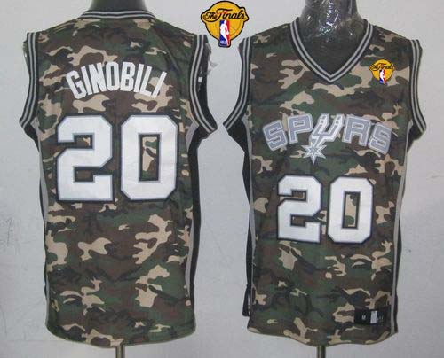 Spurs #20 Manu Ginobili Camo Stealth Collection Finals Patch Stitched NBA Jersey