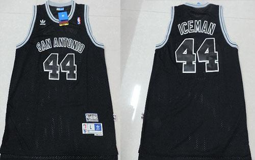 "Spurs #44 George Gervin Black ""Iceman"" Nickname Stitched NBA Jersey"
