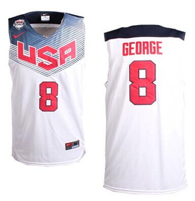 Nike 2014 Team USA #8 Paul George White Stitched NBA Jersey