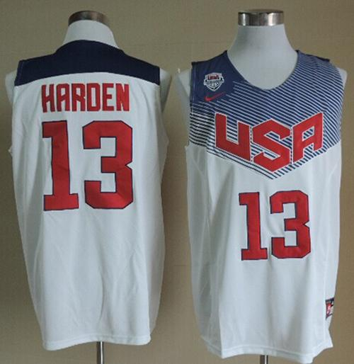 Nike 2014 Team USA #13 James Harden White Stitched NBA Jersey