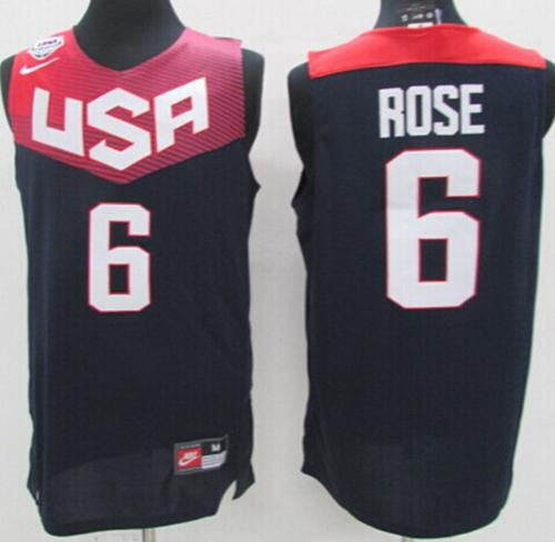 Nike 2014 Team USA #6 Derrick Rose Dark Blue Stitched NBA Jersey
