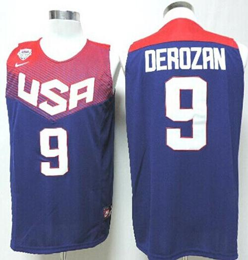Nike 2014 Team USA #9 DeMar DeRozan Dark Blue Stitched NBA Jersey