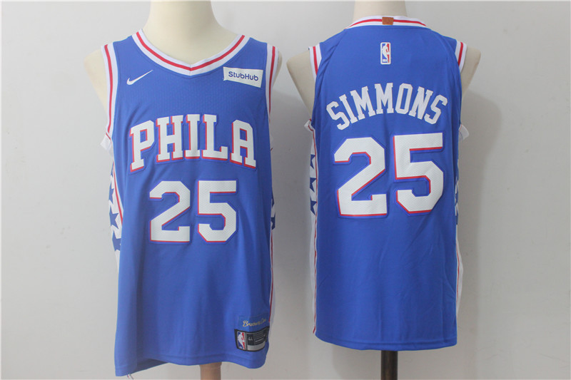 Men's Nike Philadelphia 76ers #25 Ben Simmons Blue Stitched NBA Jersey
