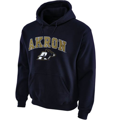 Akron Zips Midsize Arch Pullover Hoodie Navy Blue