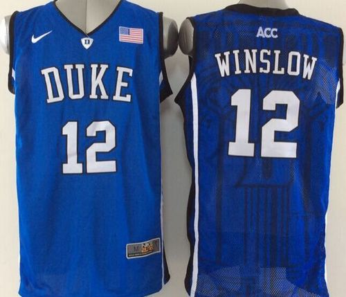 Blue Devils #12 Justise Winslow Royal Blue Basketball New Stitched NCAA Jersey