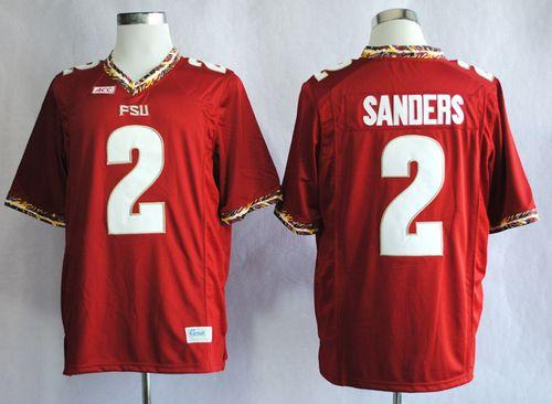 Seminoles #2 Deion Sanders Red New Stitched NCAA Jersey